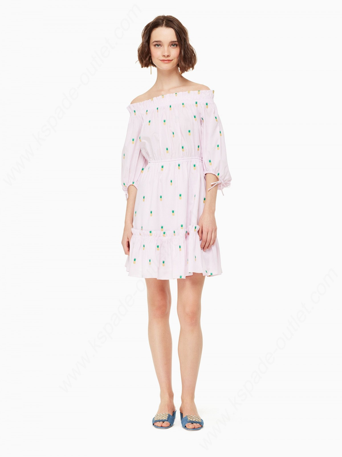 Kate Spade Lady Clothing Pineapple Off The Shoulder Dress - -0