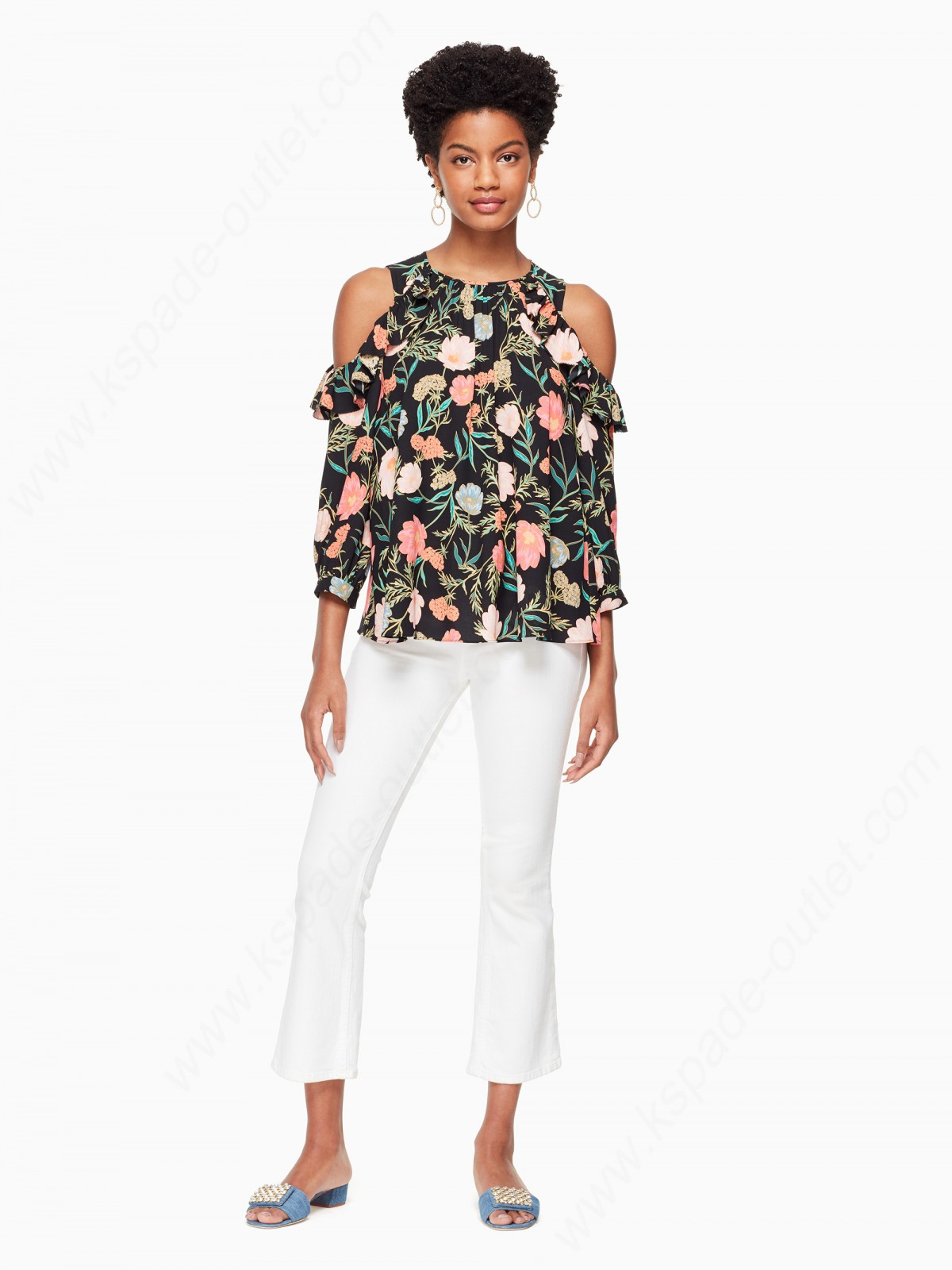 Kate Spade Women Clothing Blossom Cold Shoulder Top - -1