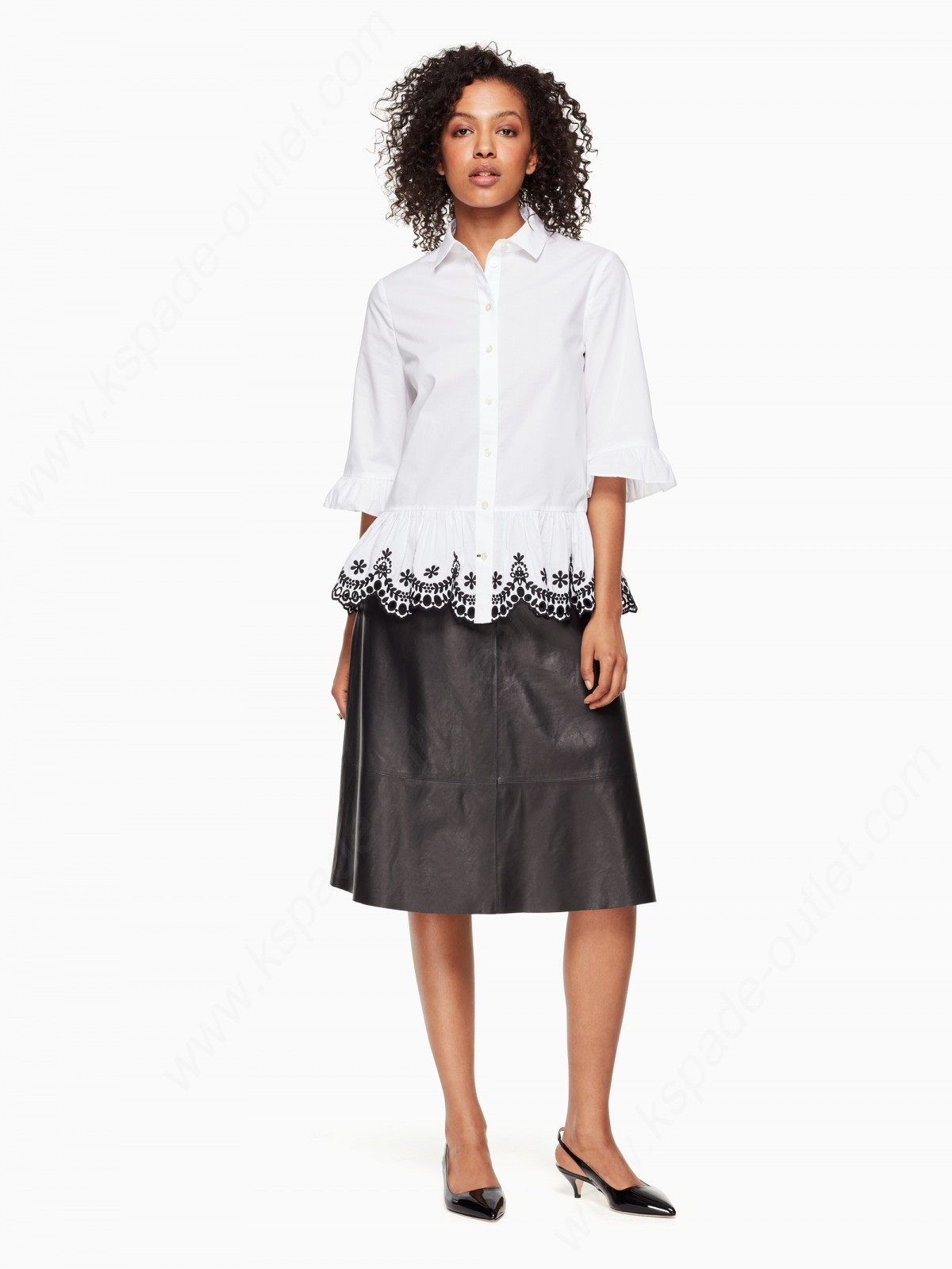 Kate Spade Women Clothing Short Sleeve Cutwork Top - -4
