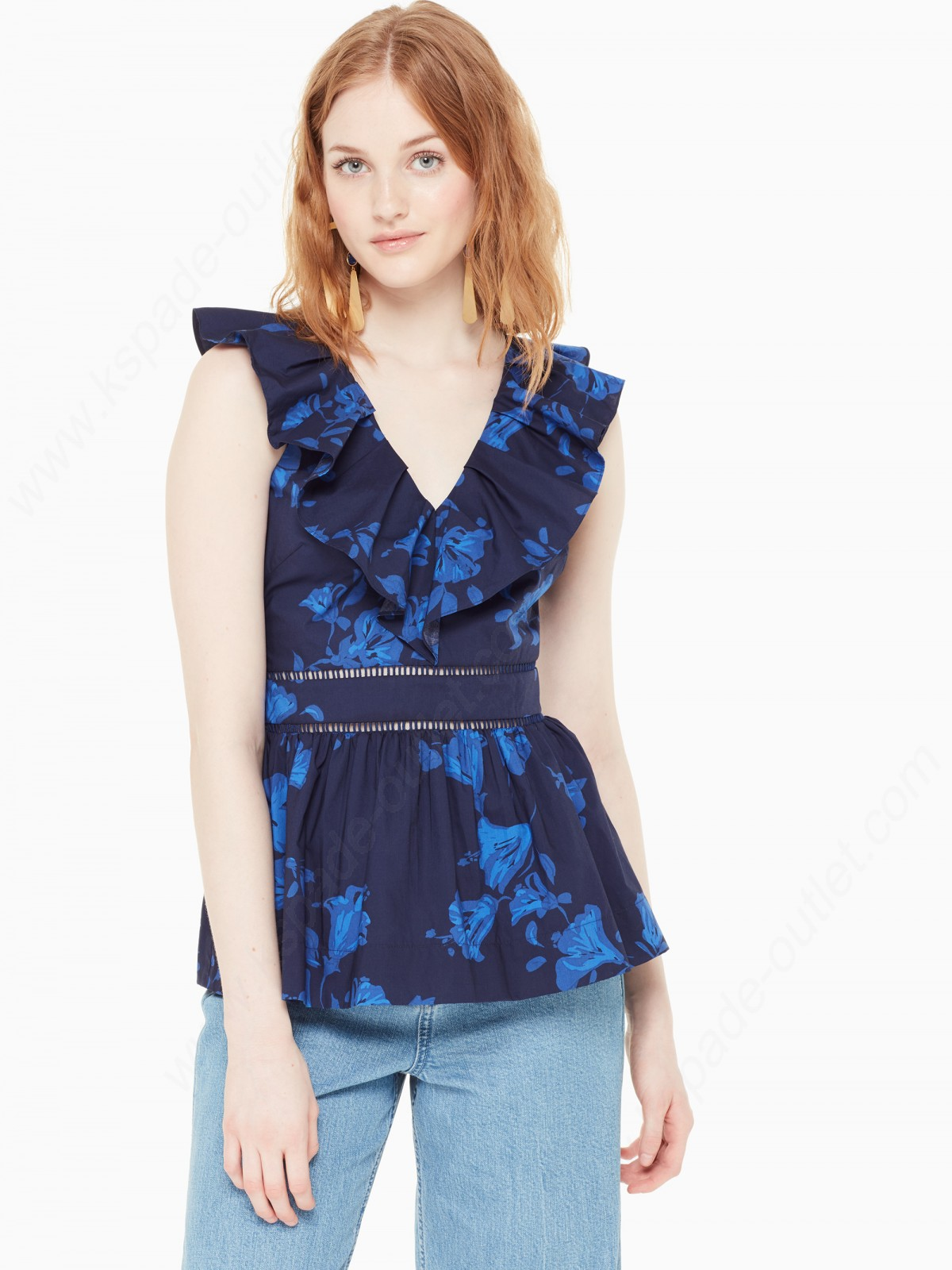Kate Spade Womens Clothing Hibiscus Ruffle Neck Top - -0