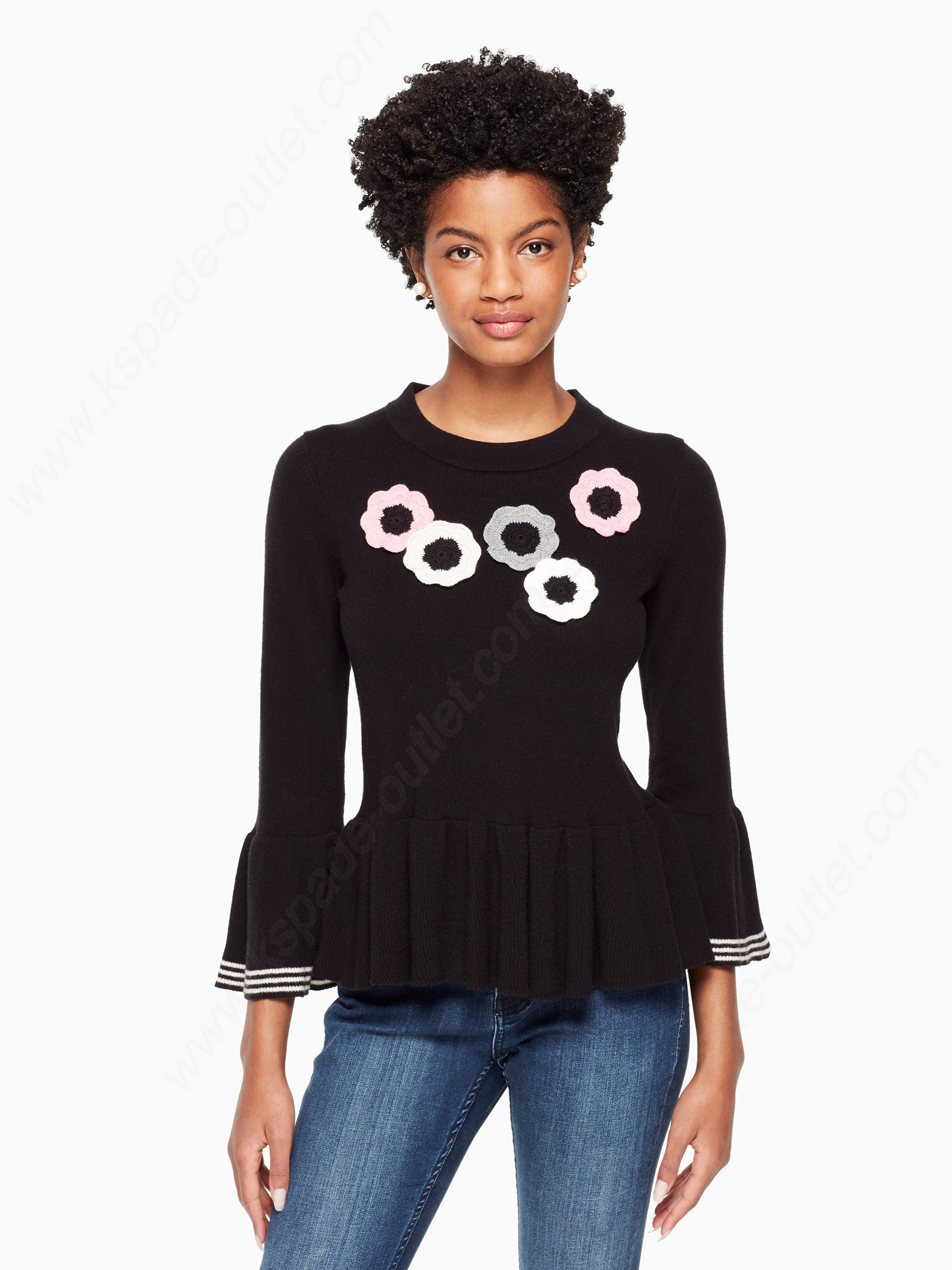 Kate Spade Woman Clothing Crochet Flower Bell Sweater - Kate Spade Woman Clothing Crochet Flower Bell Sweater
