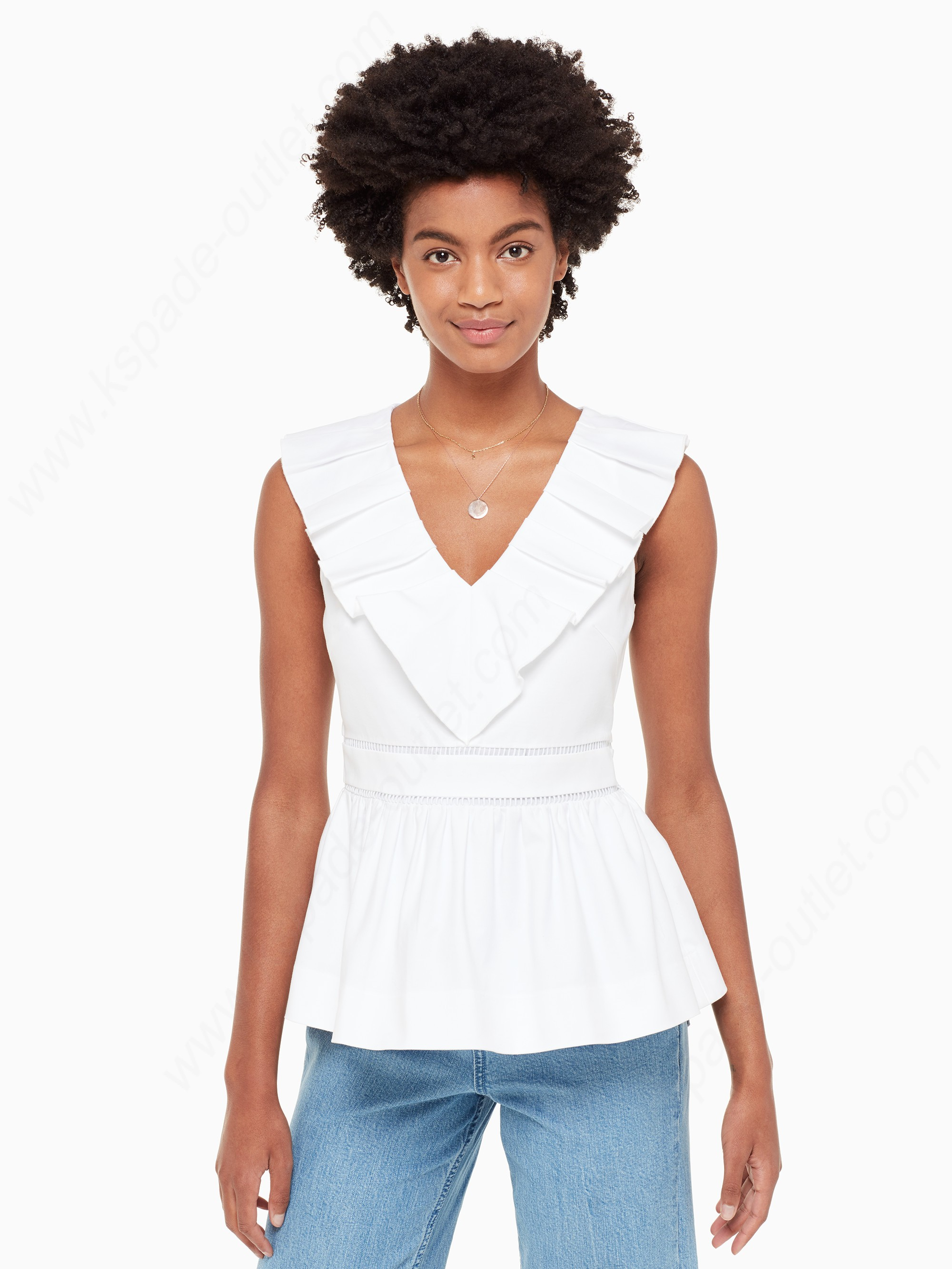 Kate Spade Woman Clothing Ruffle Neck Top - Kate Spade Woman Clothing Ruffle Neck Top