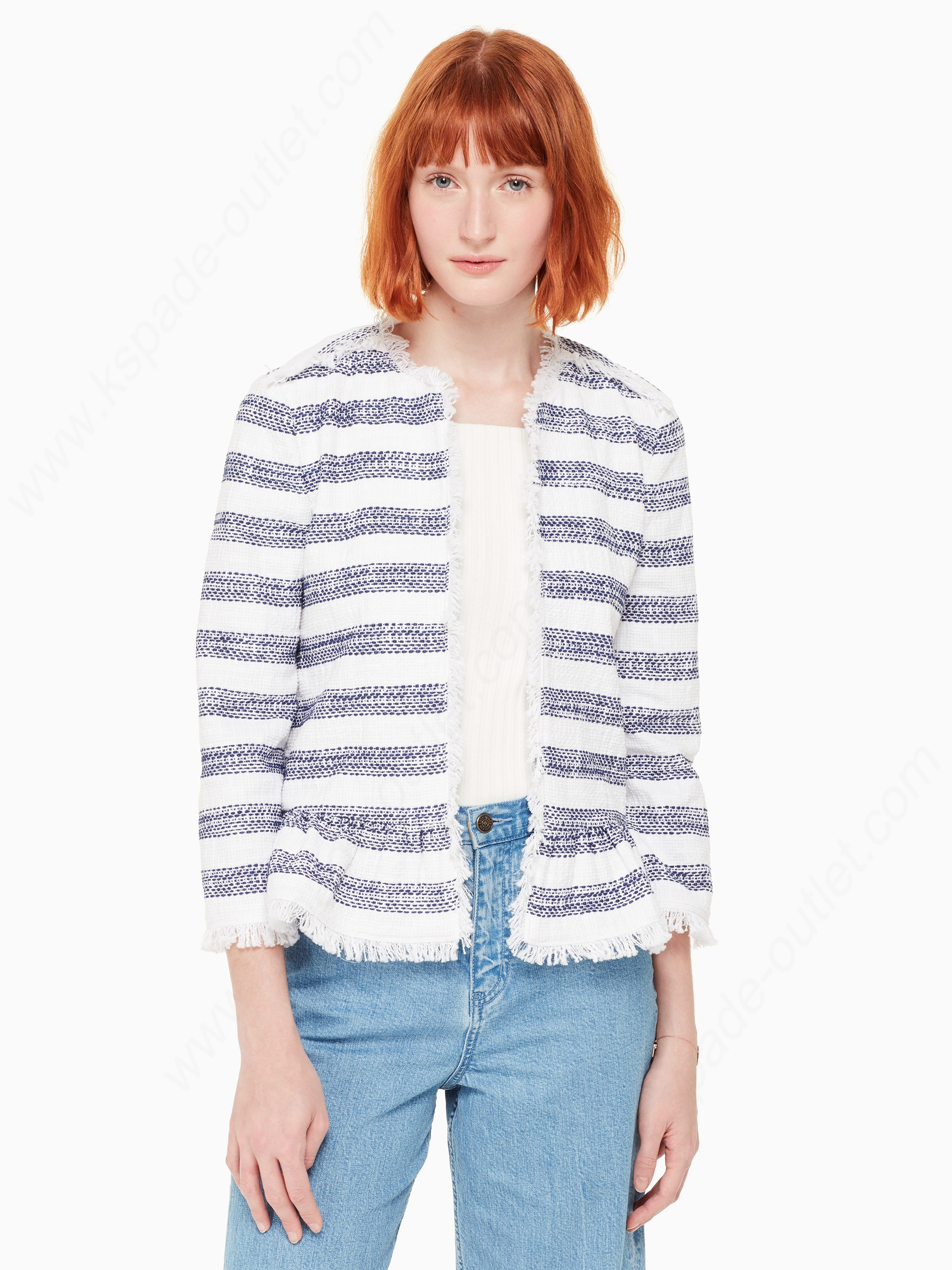 Kate Spade Woman Clothing Stripe Tweed Coats - Kate Spade Woman Clothing Stripe Tweed Coats