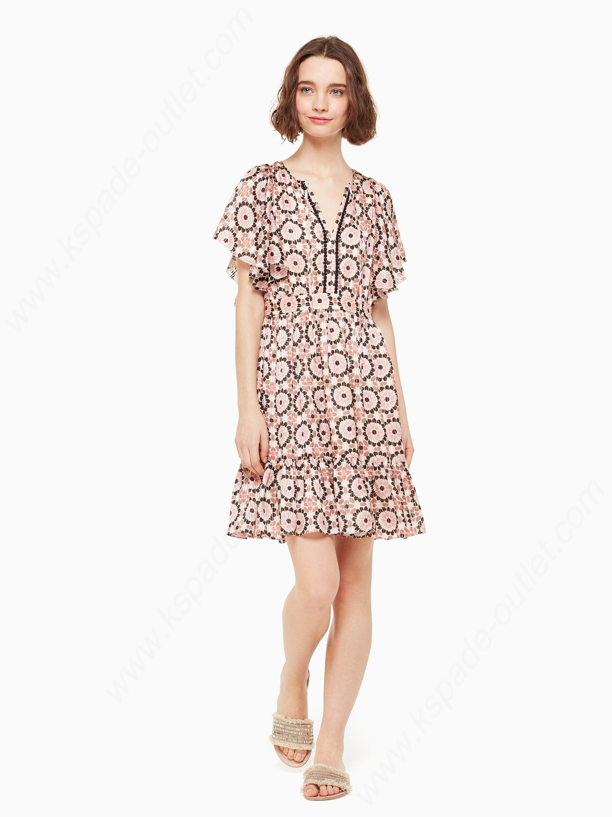 Kate Spade Womens Clothing Floral Mosaic Flutter Dress - Kate Spade Womens Clothing Floral Mosaic Flutter Dress