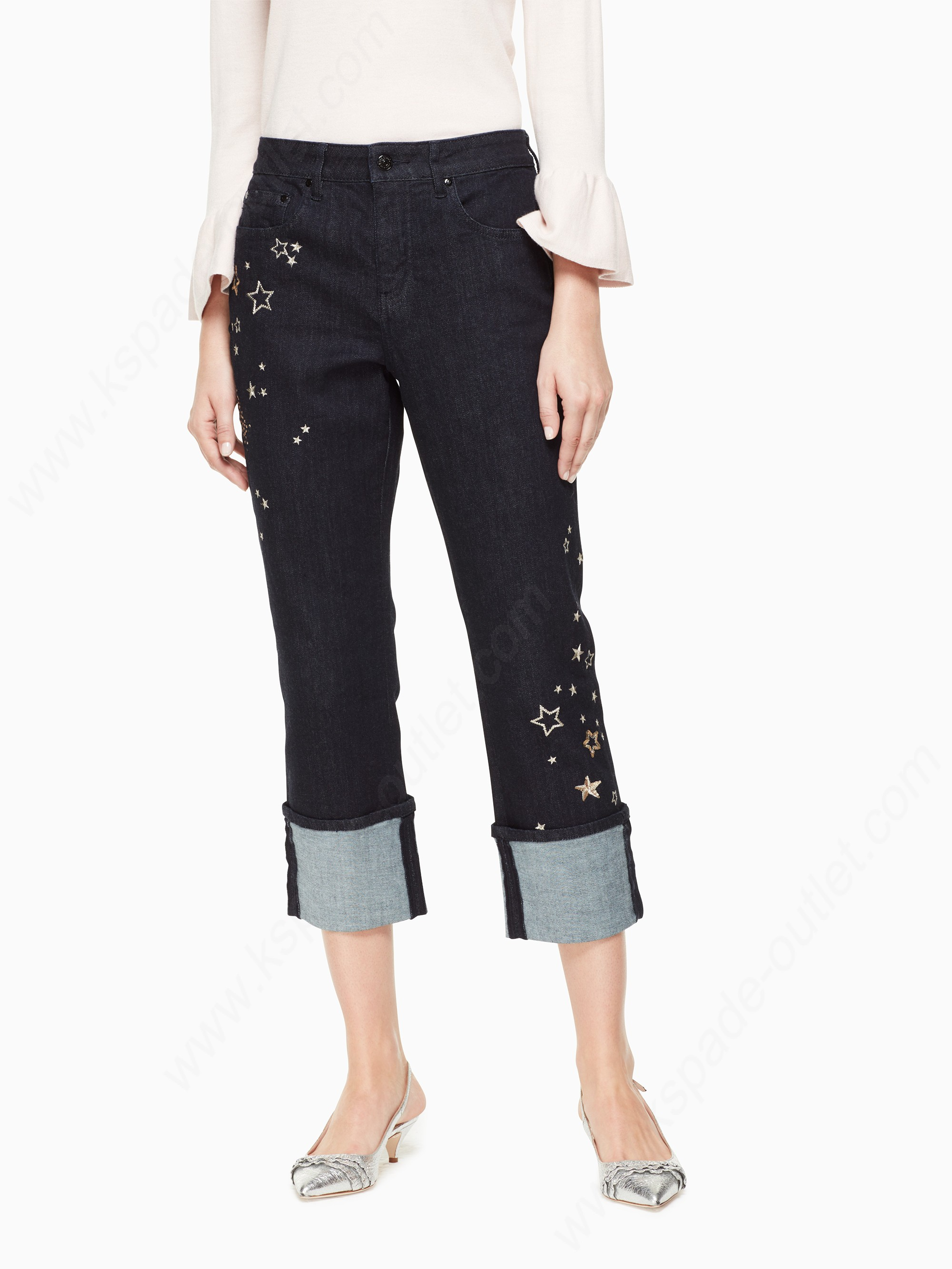 Kate Spade Womens Clothing Night Sky Embellished Jean - Kate Spade Womens Clothing Night Sky Embellished Jean